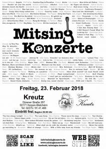 Mitsingkonzert im Gasthaus Kreutz @ Gasthaus Kreutz | Kerpen | Nordrhein-Westfalen | Deutschland