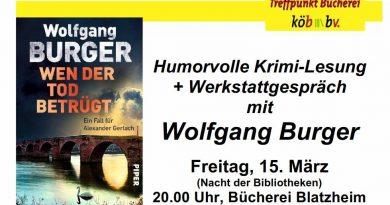 Krimilesung und Werkstattgespräch mit Wolfgang Burger