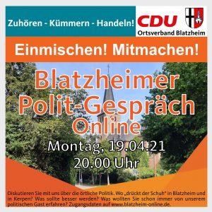 Blatzheimer Polit-Gespräch - online @ ZOOM-Online